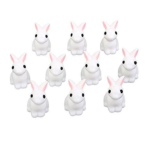 Huertuer - Adornos de Conejos en Miniatura para Jardín, Diseño de Paisaje, 10 Unidades, Color Blanco