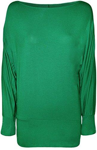 WearAll - Grand taille uni outre de l'épaule haut top avec manches chauves-souris longues - Hauts - Femmes - Tailles 44-62 Vert