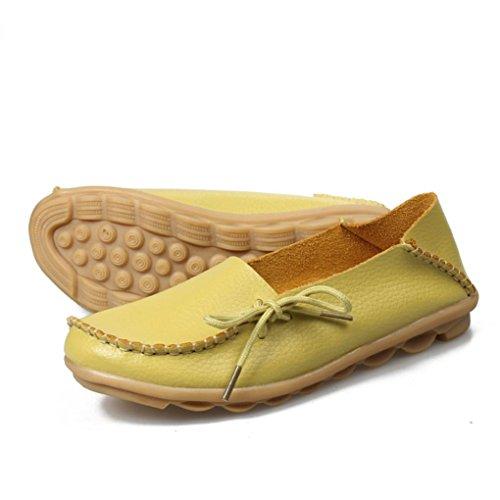 Scarpe da donna casual,Jamicy scarpe in pelle piana chiusa in pelle non scivolata Limone