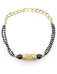 Kiyara Accessories Fashion Jewellery Floral Charm Hand Mangalsutra Bracelet In Gold Plating With Black Beads For...