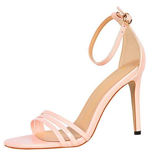 Oasap Women's Open Toe Buckle Strap Stiletto Gladiator Sandals Pink