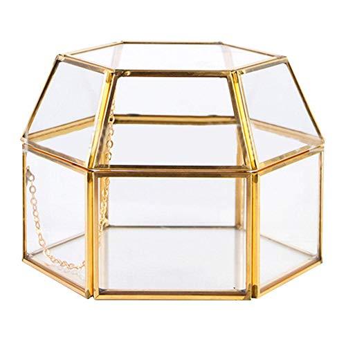 Schmuck-Glas-Box, klein, geometrisch, Blumen-Design, für Zuhause, Tischdekoration Gold ()