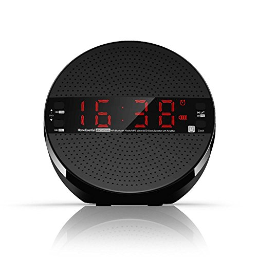 HEDDK Despertador Digital con Altavoz Bluetooth gráfico Nocturna Gran Pantalla/Tarjeta FM/MP3/TF/AUX/Manos...