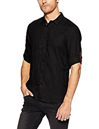 Jack & Jones Men's Solid Slim Fit Linen Casual Shirt (1968084007_12134304_Black_Medium)
