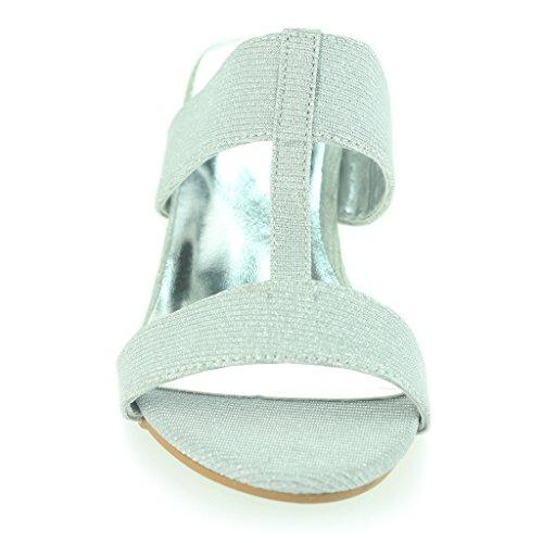 Frau Damen Schimmernd Funkeln T bar Schlüpfen Blockabsatz Abend Lässig Party Sandalen Schuhe Größe Silber