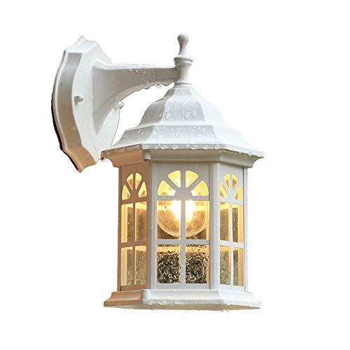 Yaione LED-Wandleuchte, Wandleuchte, traditionelle Leuchten, wasserdicht, Aluminiumgehäuse plus Glas, UL-A19-Glühlampen, Außenwandleuchte, Aluminiumguss, Weiß - A19-glühlampen Medium Base