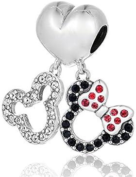 SC Mickey und Minnie Maus Charm Anhänger Sterling Silber S925