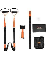 Trèsutopia Fitnexx Schlingentrainer, Profi-Handgriffe, inkl. Türanker, Karabinerbefestigung und Transportbeutel (Orange/Schwarz)
