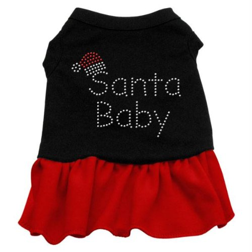 Mirage Pet Products Santa Baby Strass PET Kleid, XXL, 18, schwarz/rot