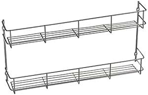 VonShef Porte-épices/Etagère à épices 2 niveaux sur mur ou porte de placard – Montage facile 21 x 41 x 6.2 cm