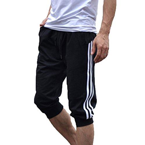 Hibote Männer Sport Sweat Hosen Shorts 3/4 Jogginghose Gym Cotton Casual Hosen Weiß L - 3/4 Sweat
