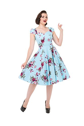 Pretty Kitty Schwarz hellblauen Blüten-Blumendruck Baumwolle 50s Kleid