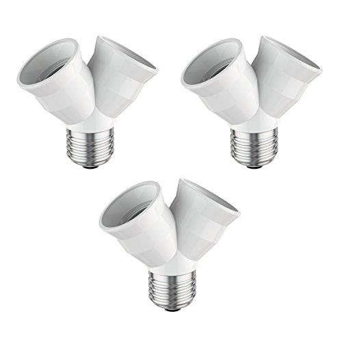 Fach Decken-beleuchtung (ledscom.de E27 Splitter, Plastik, Weiß, 3.9 x 7.7 x 7.4 cm, 3 Einheiten)