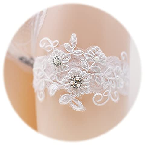 Slocyclub Women Pure White Lace Broaden Bridal Garter with