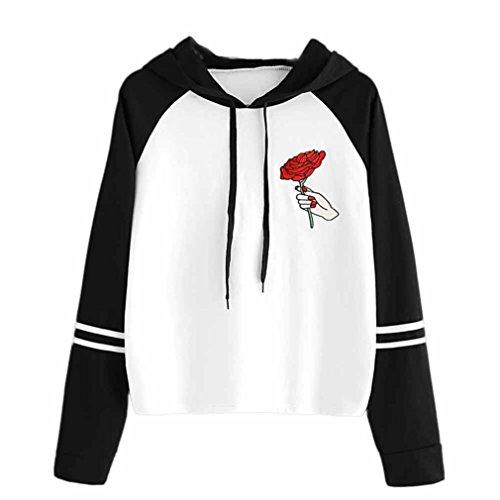 Hoodie Kapuzenpullover Damen Rose Sweatshirt Bekleidung Herbst Winter Kapuzenpulli Langarm Schwarz Pullover Tops LMMVP (Weiß, M) (Terry Short Stripe)