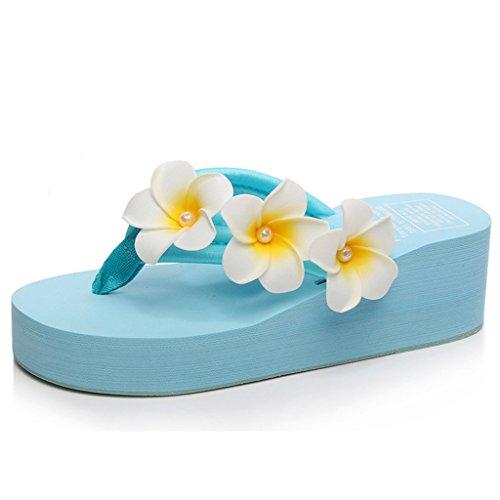 Eagsouni® Damen Plateau Sandalen Plattform Flip Flops, Sommer Mädchen Blume Keilabsatz Hausschuhe Blau