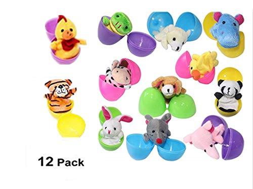 Sticker Superb 12 Paquets Remplir Oeuf de Pâques avec 12 Mini Animaux Poupée Plastique Coloré Oeufs à Remplir Fête L'école Oeuf de Pâques Enfant Fille Garçon (12pcs)