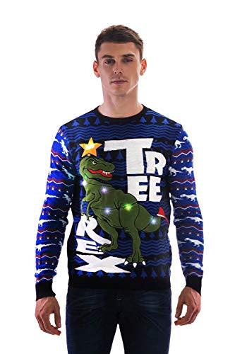 You Look Ugly Today Herren Weihnachtspullover LED Light Sweater Pullover Pulli Xmas Sweatshirt Weihnachtspulli Hoodie Jumper mit Weihnachtlichen Motiven für Weihnachtsparty (Elf Kostüm Für Herren)