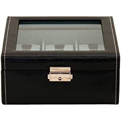friedrich|23 Unisex Black Plastic Watch Box with Glass Lid for 6 Watches 20085 2