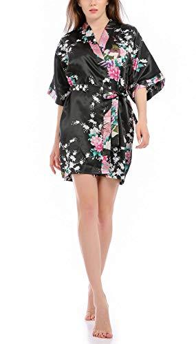 Vestido Párrafo Corto Mujer Batas Kimono Pavo Flores