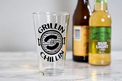 Beyyins Grill- und Chillin-Bierglas für Papa für Ehemänner, Grillgeschenke, Geschenke für Männer