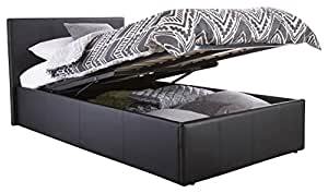 Right Deals UK SINGLE FAUX LEATHER OTTOMAN STORAGE GAS LIFT BED - BLACK