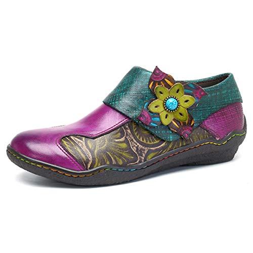 Socofy Damen Leder Slipper, Mokassins Metallic Leder-Optik Slipper Espadrilles Vintage Flats Flache Casual Loafers Bootsschuhe Halbschuhe Slip-Ons -
