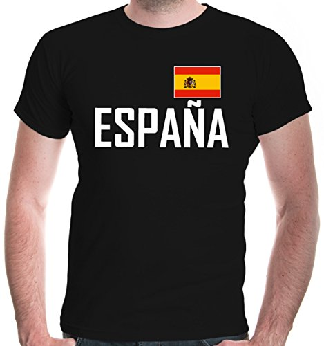 buXsbaum® Herren T-Shirt Spanien | Spain Espana Espagne Spagna Europa Ländershirt Fanshirt Flagge Trikot Reise | XXL, Schwarz