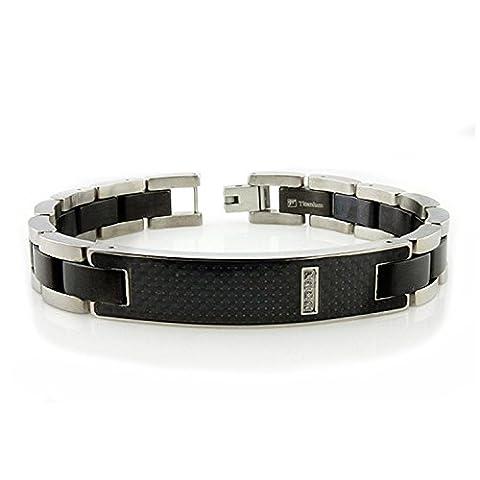 Titanium Men's ID Bracelet w/ Black Carbon Fiber Inlay 8.5