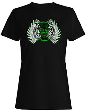Cabeza de tigre con alas y cinta camiseta de las mujeres oo12f