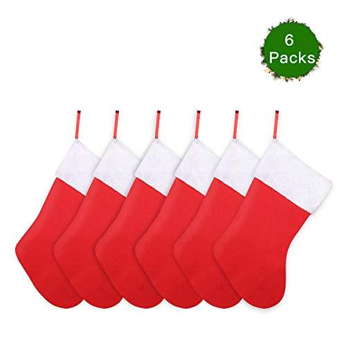 SHareconn 6X rote Weihnachtsstrumpf Nikolaus Socke Strumpf zum Aufhängen und Befüllen an Weihnachten und Nikolaus Weihnachtsdeko Weihnachten Geschenktasche Zucker Beutel (6X Nikolaussocken)