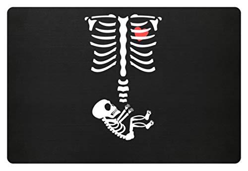 generisch Lustiges Schwangerschaft Halloween Baby Mama Mütter Skelett Menschen Nachwuchs - Fußmatte -60x40cm-Schwarz