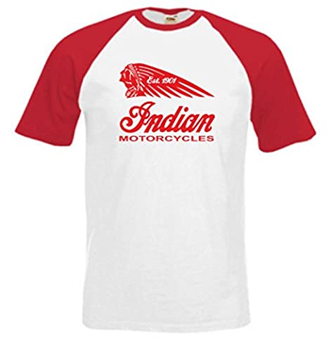 Indian Motorcycle Baseball Biker T-shirt Short Sleeved Contrast Colour S to XX-L (Large 41/43