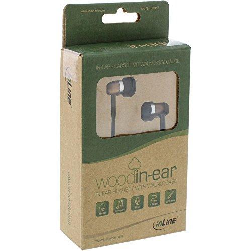 InLine® woodin-Ear, In-Ear Headset mit Kabelmikrofon und Funktionstaste, Walnuß -