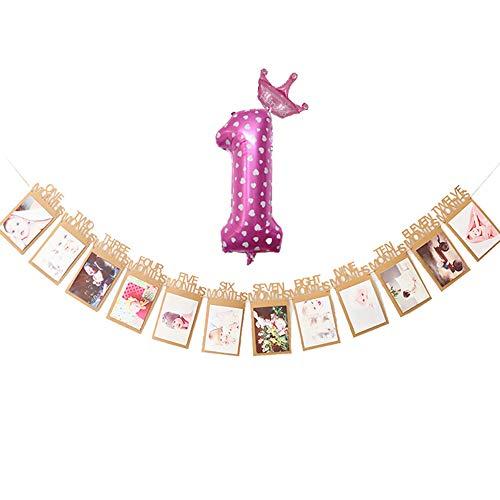 SUNANFBEST Foto Banner,12 Monate Baby Handabdruck Fußabdruck Foto Bilder Banner Girlande Dekoration zum Erstes Jahr Geburtstag Babyparty Taufe Babyshower