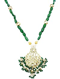 Mehrunnisa Traditional Gold Tone Kundan & Green Pearls Pendant Necklace With Simulated Emeralds For Women (JWL1606)
