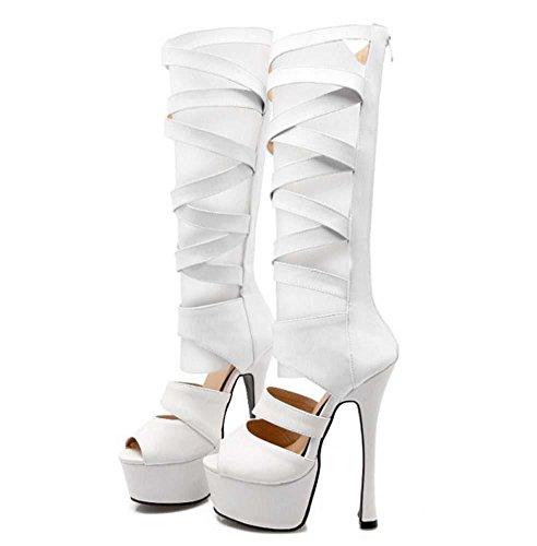 faraly Plattform wasserfest Stiletto High Heels am Knie oberhalb der Stiefel Sporenriemen Transversal Schuhe Suppenteller Frauenfußball 38 weiß (Patent-plattform Stiefel High Knie)