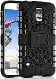 OneFlow® Outdoor Back-Cover aus Silikon + Kunststoff [Double-Layer] passend für Samsung Galaxy S5   Extrem widerstandsfähiger 360° Schutz, Schwarz