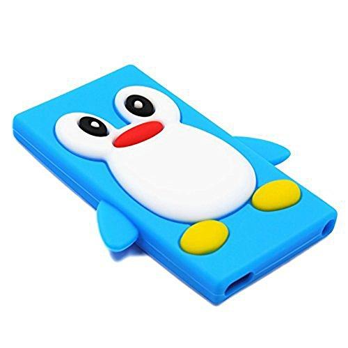 Tsmine Apple Ipod Nano 7th Generation Penguin Cartoon Case - Cute 3D Penguin Soft Silicone Back Washable Cover Case Protective Skin for iPod Nano 7th Gen, Baby Blue