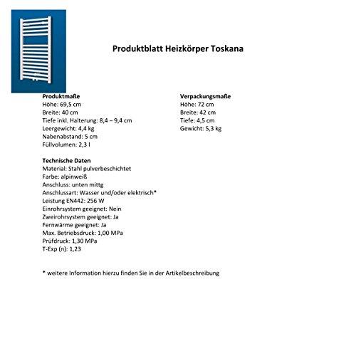 Badheizkörper Mittelanschluss Toskana 70x40 cm Design-Heizkörper Bad weiß vom Renovierungsprofi, 1 Stück, 4056397001737 - 6