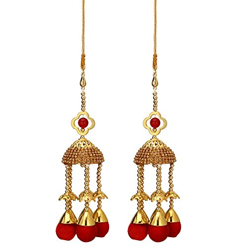 Sanjog Golden Fine Metal with Red Stone Kaleera Kalira Set for Women Bridal-Pack of 2