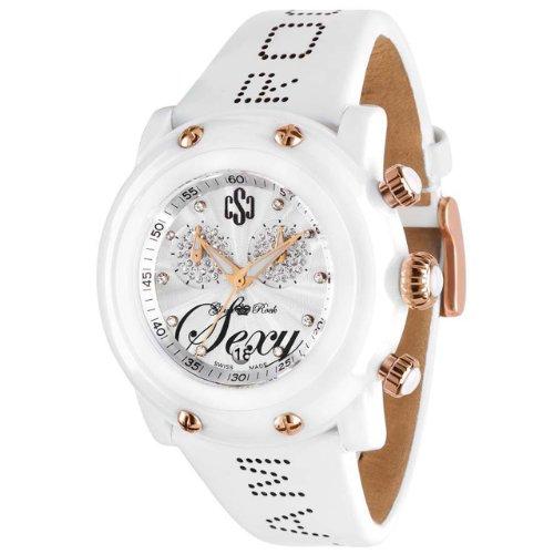 Glam Rock Femmes GR61100 Miami Beach Collection Chronographe diamant accentués montre en cuir blanc