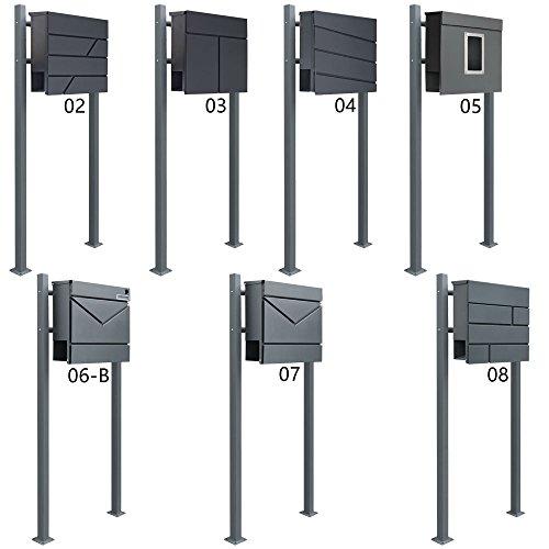 Standbriefkasten Briefkasten Anthrazit Grau Stahl Edelstahl Zeitungsrolle Freistehend V2Aox Auswahl, Ausführung:2 Füße - eckig;Design:02