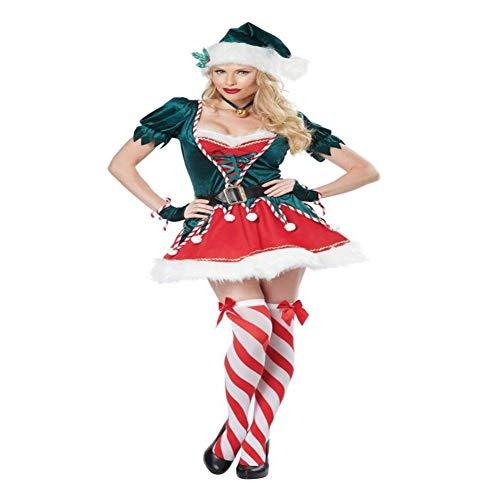 Coaplay Kostüm - CVCCV Weihnachtsgrün Elf spielt Uniform Party Party Coaplay Weihnachtskostüm Polyester Stoff Geeignet für Frauen