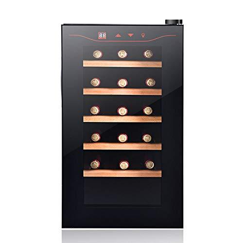 Schwarz Thermoelektrische Weinkühler (FREIHE Thermoelektrischer Weinkühler 18 Flaschen - Rot- und Weißweinkühler - Aufsatz - Freistehender Kühlschrank mit LCD-Display Digitale Touch-Steuerung UV-Schutz, Black)