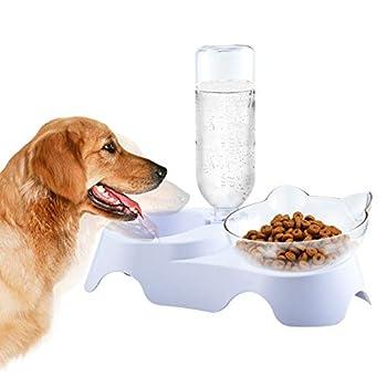 Furpaw Gamelles pour Chiens, Chat Bol de Nourriture avec Support Surélevé, 2 en 1 Distributeur Automatique d'alimentation Lente pour Animal Domestique Blanc
