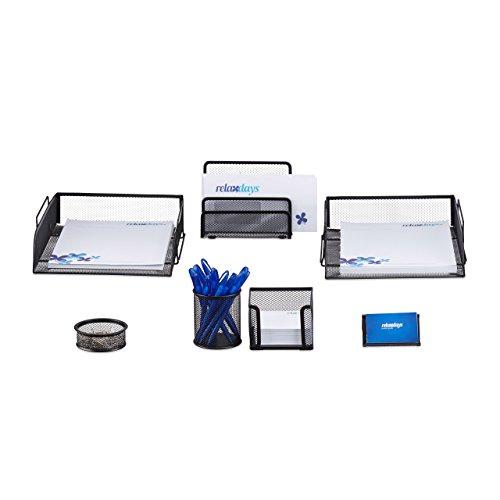 Relaxdays Schreibtisch Organizer Set, 7-teilig, Metall, Schreibtisch-Set, Briefablage, Zettelbox, Stifteköcher, schwarz -