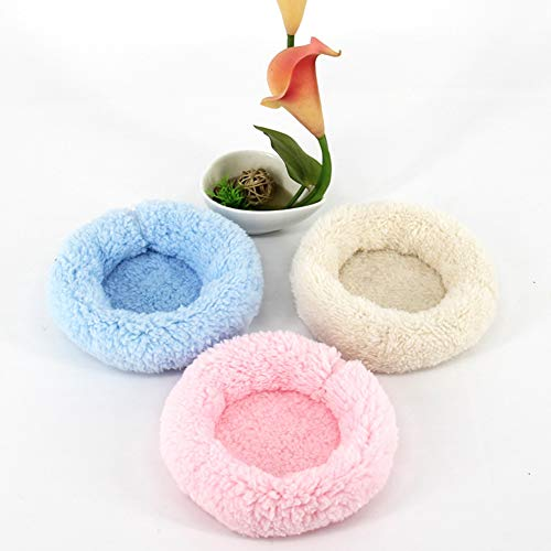 (Hilai Hamster-Bett, Round Velvet Warm Schlaf-Matte mit Kühlbambusmatte für Kaninchen/Igel / Eichhörnchen/Mäuse / Ratten/Mini Dutch Schwein und Andere Kleintiere (1 *Rosa L))
