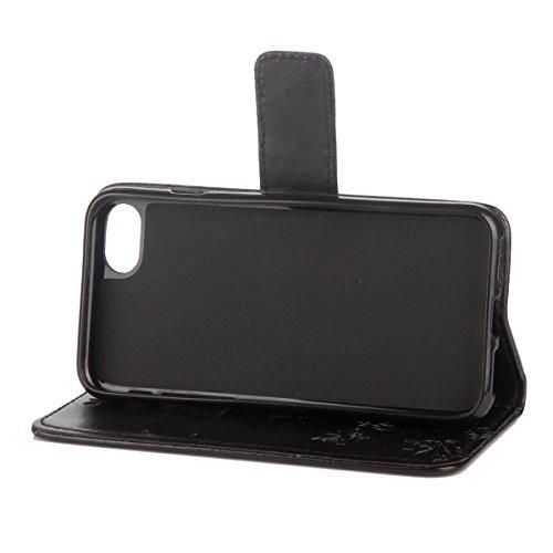Custodia iPhone 6 Plus, ISAKEN Custodia iPhone 6S Plus, iPhone 6 Plus Flip Cover con Strap, Elegante borsa Albero Design in Sintetica Ecopelle Sbalzato PU Pelle Protettiva Portafoglio Case Cover per A Lotu: nero