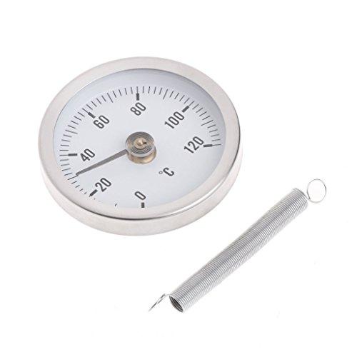Qiulip Thermometer mit Clip, Thermometer, Temperatur Bimetal, Temperaturmessgerät und Feder, 63 mm, 120 °C -